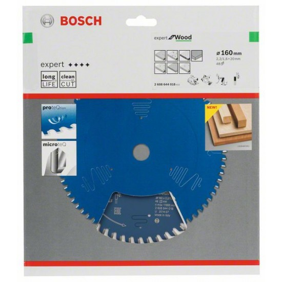 Диск за циркуляр Expert for Wood 160 x 20 x 2,2 mm, 48, 2608644018, BOSCH